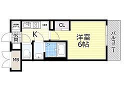 アドバンス西梅田ジェイス 8階1Kの間取り