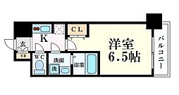 S-RESIDENCE阿波座WEST 12階1Kの間取り