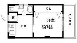 兵庫県神戸市中央区多聞通4丁目の賃貸マンションの間取り