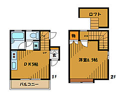 JR中央線 国分寺駅 徒歩10分の賃貸テラスハウス 2階1DKの間取り