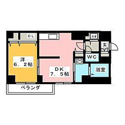アムール香川 5階1DKの間取り