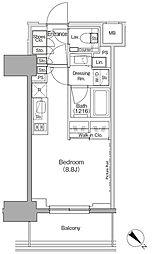 東京メトロ有楽町線 月島駅 徒歩1分の賃貸マンション 9階ワンルームの間取り