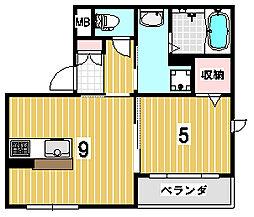 くめマンションEAST[102号室]の間取り