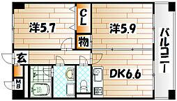 ニューシティアパートメンツ南小倉II[4階]の間取り