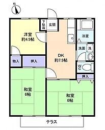 ホワイトハイツI[1階]の間取り