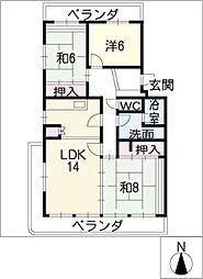 ドミール南山601号室[6階]の間取り