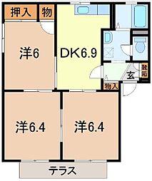 静岡県伊豆の国市三福の賃貸アパートの間取り