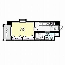 福岡市地下鉄箱崎線 呉服町駅 徒歩3分の賃貸マンション 5階1Kの間取り