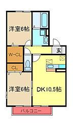 JR内房線 八幡宿駅 徒歩15分の賃貸アパート 2階2LDKの間取り