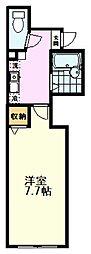 西武国分寺線 恋ヶ窪駅 徒歩12分の賃貸アパート 1階1Kの間取り