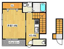 (仮称)南観音町新築アパート 2階1Kの間取り