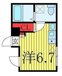 仮称 王子一丁目マンションB棟 5階ワンルームの間取り