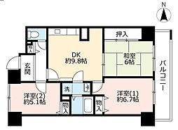 URベルマージュ堺弐番館 33階3DKの間取り