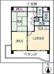マンション ベルエア[5階]の間取り