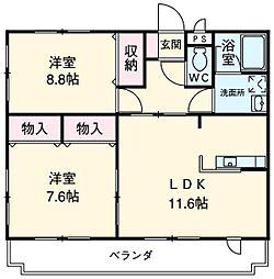 愛知県安城市小川町的場丘の賃貸マンションの間取り
