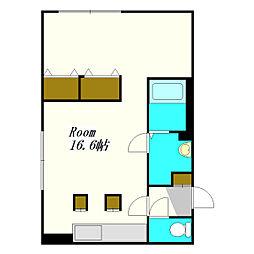 ラプラスワン 4階ワンルームの間取り