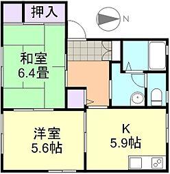 岡山県倉敷市児島小川8丁目の賃貸アパートの間取り