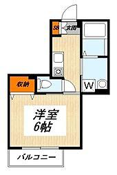 京王線 明大前駅 徒歩7分の賃貸アパート 2階1Kの間取り
