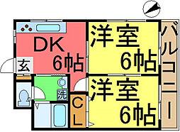 菅原橋スカイマンション[301号室]の間取り