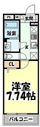 仙台市地下鉄東西線 連坊駅 徒歩6分の賃貸マンション 2階1Kの間取り
