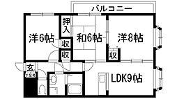 兵庫県伊丹市荻野西1丁目の賃貸マンションの間取り