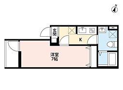 JR高崎線 宮原駅 徒歩4分の賃貸アパート 1階1Kの間取り
