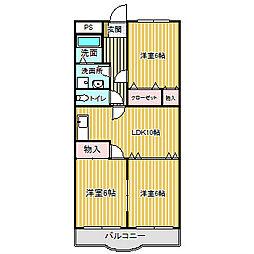 愛知県名古屋市中川区大当郎1丁目の賃貸マンションの間取り