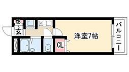 愛知県名古屋市天白区平針3丁目の賃貸アパートの間取り