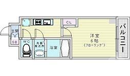 レオンコンフォート京橋イースト 8階1Kの間取り