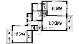 ライフ南口[1階]の間取り