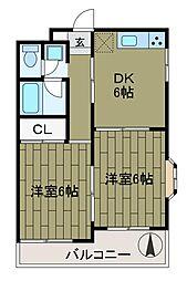 ユア南台[4階]の間取り