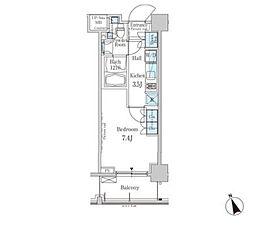 新交通ゆりかもめ 芝浦ふ頭駅 徒歩8分の賃貸マンション 8階1Kの間取り