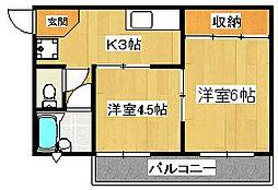第一早川コーポ[3-B号室]の間取り