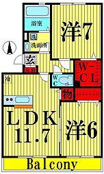 東京都足立区平野1丁目の賃貸アパートの間取り