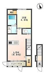 JR東北本線 日和田駅 徒歩10分の賃貸アパート 2階1LDKの間取り