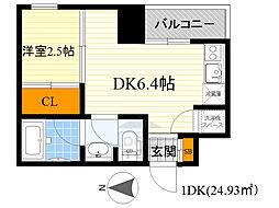 レギャン002 1階1DKの間取り