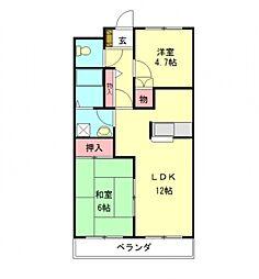 愛知県一宮市定水寺字郷内の賃貸アパートの間取り
