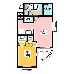 チサンマンション水落[3階]の間取り