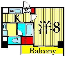 JR山手線 日暮里駅 徒歩11分の賃貸マンション 6階1Kの間取り