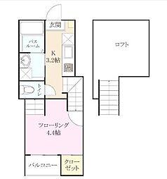 福岡市地下鉄七隈線 六本松駅 徒歩7分の賃貸アパート 2階1Kの間取り