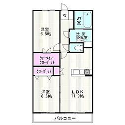 JR東海道本線 沼津駅 バス15分 横山下車 徒歩1分の賃貸マンション 2階2LDKの間取り