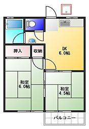 東京都板橋区向原2丁目の賃貸アパートの間取り