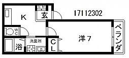 阪南町1丁目アパート[3階]の間取り