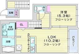 JR仙山線 陸前落合駅 徒歩18分の賃貸アパート 2階1LDKの間取り