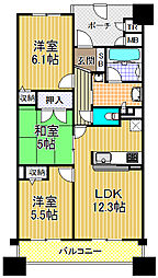 キングマンション大阪ベイ[3階]の間取り