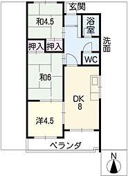 マルイハイツ403号室[4階]の間取り