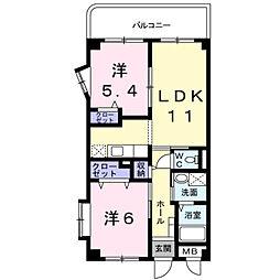サニーカーサA[2階]の間取り