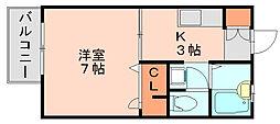 フェアガーデン竹下B[1階]の間取り