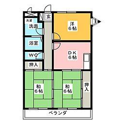 メゾンコスモ[2階]の間取り