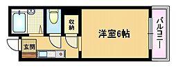 Osaka Metro谷町線 都島駅 徒歩10分の賃貸マンション 6階1Kの間取り